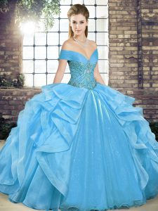 Baby Blue Ball Gowns Organza Off The Shoulder Sleeveless Beading and Ruffles Floor Length Lace Up Sweet 16 Dress