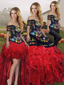 Pretty Floor Length Lace Up Sweet 16 Dress Red And Black for Military Ball and Sweet 16 and Quinceanera with Embroidery and Ruffles