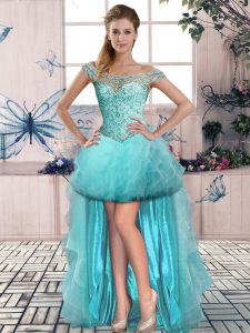 High Class Aqua Blue A-line Beading and Ruffles Lace Up Tulle Sleeveless High Low