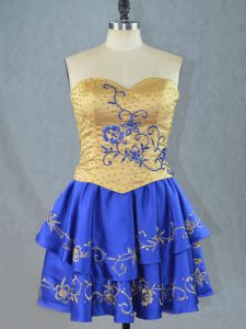 New Arrival Sweetheart Sleeveless Celebrity Dress Mini Length Beading and Embroidery Royal Blue Satin
