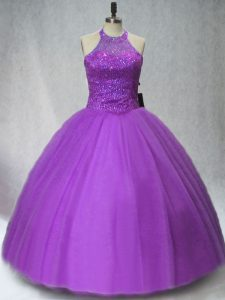 Smart Halter Top Sleeveless Tulle Quinceanera Gowns Beading Lace Up