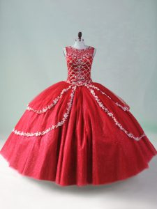 Excellent Red Scoop Zipper Beading and Appliques Ball Gown Prom Dress Sleeveless