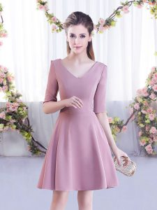 Inexpensive Mini Length Zipper Damas Dress Pink for Wedding Party with Ruching