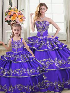 Sleeveless Lace Up Floor Length Embroidery and Ruffled Layers 15 Quinceanera Dress