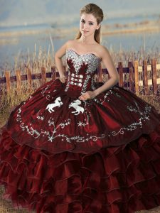 Stunning Embroidery and Ruffles Quinceanera Dresses Burgundy Lace Up Sleeveless Floor Length