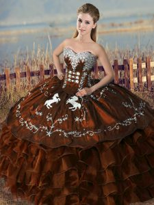 Pretty Sweetheart Sleeveless Satin and Organza Quinceanera Dress Embroidery and Ruffles Lace Up