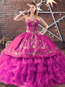 Elegant Ball Gowns Sweet 16 Quinceanera Dress Fuchsia Sweetheart Satin and Organza Sleeveless Floor Length Lace Up