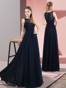 Extravagant Floor Length Zipper Dress for Prom Navy Blue for Prom and Party with Lace