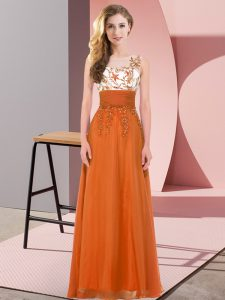 Orange Red Chiffon Backless Court Dresses for Sweet 16 Sleeveless Floor Length Appliques