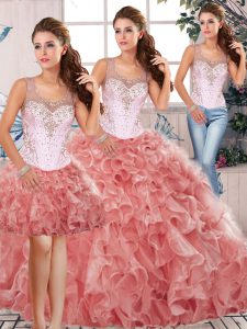 Watermelon Red Clasp Handle Scoop Beading and Ruffles Quinceanera Dress Organza Sleeveless