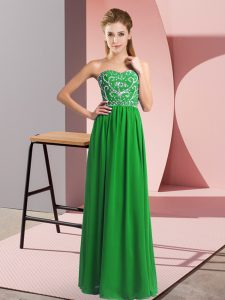 Empire Prom Gown Green Sweetheart Chiffon Sleeveless Floor Length Lace Up