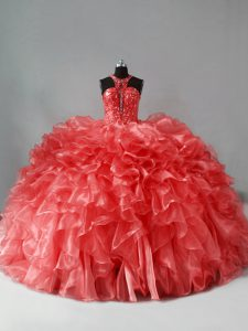 Sumptuous Sleeveless Brush Train Beading and Ruffles Zipper Sweet 16 Dress