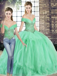 Apple Green Sleeveless Tulle Lace Up Quinceanera Dresses for Military Ball and Sweet 16 and Quinceanera
