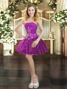 High Class Purple Sleeveless Mini Length Beading and Ruffles Lace Up Prom Evening Gown