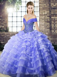 Lavender Sleeveless Organza Brush Train Lace Up Quinceanera Dress for Military Ball and Sweet 16 and Quinceanera