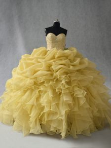 Floor Length Ball Gowns Sleeveless Yellow 15th Birthday Dress Lace Up