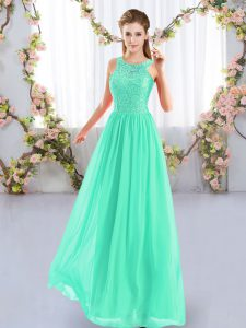 Apple Green Zipper Dama Dress for Quinceanera Lace Sleeveless Floor Length