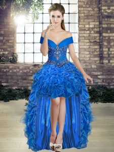Sleeveless High Low Beading and Ruffles Lace Up Prom Evening Gown with Royal Blue