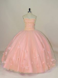 Pink Lace Up Ball Gown Prom Dress Hand Made Flower Sleeveless Floor Length