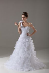 White Lace Up One Shoulder Ruffles and Hand Made Flower Wedding Dresses Organza Sleeveless Brush Train