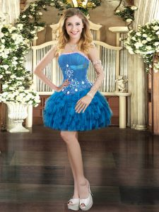 Blue Ball Gowns Organza Strapless Sleeveless Beading and Ruffles Mini Length Lace Up