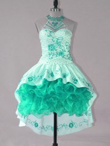 Cheap Sleeveless Satin and Organza High Low Lace Up Prom Dress in Turquoise with Embroidery and Ruffles