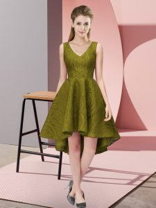 Sleeveless High Low Lace Zipper Dama Dress for Quinceanera with Olive Green