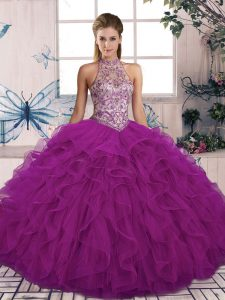 Floor Length Purple Quinceanera Gowns Tulle Sleeveless Beading and Ruffles