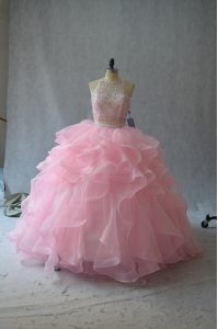 Fancy Pink Organza Backless Vestidos de Quinceanera Sleeveless Beading and Ruffles