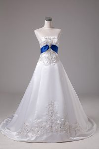 Fabulous White Ball Gowns Satin Strapless Sleeveless Beading and Embroidery Lace Up Bridal Gown Brush Train