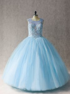 Scoop Sleeveless Lace Up Quinceanera Gown Light Blue Tulle