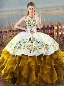 Artistic Brown Ball Gowns Organza Halter Top Sleeveless Embroidery and Ruffles Floor Length Lace Up Quinceanera Dress