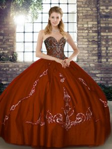 Floor Length Brown Sweet 16 Quinceanera Dress Sweetheart Sleeveless Lace Up