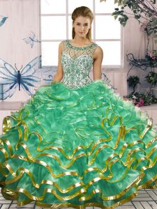 Fantastic Organza Scoop Sleeveless Lace Up Beading and Ruffles Quince Ball Gowns in Turquoise