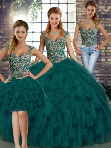 Beauteous Peacock Green Sleeveless Floor Length Beading and Ruffles Lace Up Quinceanera Gowns