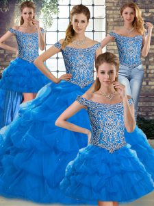 Hot Selling Blue Lace Up Off The Shoulder Beading and Pick Ups Sweet 16 Dress Tulle Sleeveless Brush Train