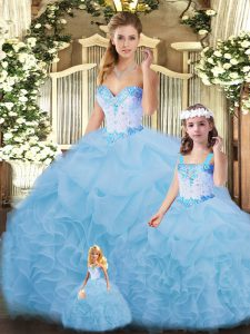 Modest Floor Length Blue Ball Gown Prom Dress Sweetheart Sleeveless Lace Up