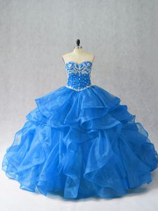 Ideal Sweetheart Sleeveless 15 Quinceanera Dress Floor Length Beading and Ruffles Blue Organza