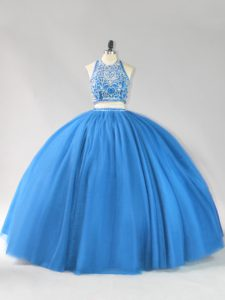 Tulle Strapless Sleeveless Backless Beading 15 Quinceanera Dress in Blue