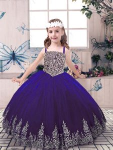 Admirable Purple Ball Gowns Straps Sleeveless Tulle Floor Length Lace Up Beading and Embroidery Girls Pageant Dresses