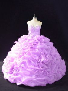 Lavender Sleeveless Court Train Beading and Pick Ups and Hand Made Flower Quinceanera Gowns