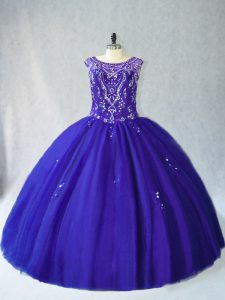 Ideal Royal Blue Quince Ball Gowns Sweet 16 and Quinceanera with Beading Scoop Sleeveless Lace Up
