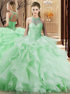 Apple Green Sleeveless Beading and Ruffles Lace Up Vestidos de Quinceanera