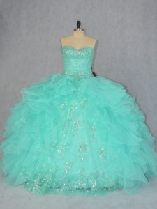 Colorful Ball Gowns 15th Birthday Dress Apple Green Sweetheart Organza Sleeveless Floor Length Lace Up