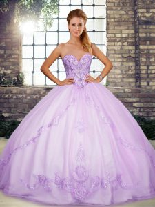 Lavender Ball Gowns Beading and Embroidery Sweet 16 Dress Lace Up Tulle Sleeveless Floor Length