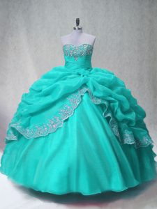 Inexpensive Sweetheart Sleeveless Lace Up Sweet 16 Dresses Aqua Blue Organza