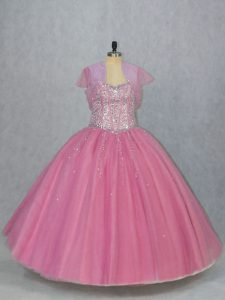 Pink Sweetheart Lace Up Beading Quinceanera Dresses Sleeveless