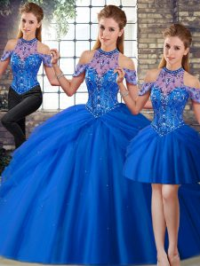 Fantastic Blue Sleeveless Tulle Brush Train Lace Up 15th Birthday Dress for Military Ball and Sweet 16 and Quinceanera