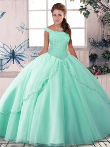 Suitable Sleeveless Tulle Brush Train Lace Up Ball Gown Prom Dress in Apple Green with Beading