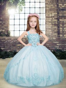 Light Blue Tulle Lace Up Straps Sleeveless Floor Length Pageant Dress for Teens Beading